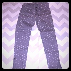 Lilac White Dot Stretch American Eagle Jegging 4